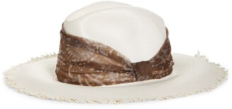 Brunello Cucinelli Straw Fedora with Silk Band