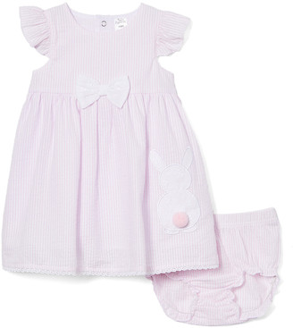 Baby Essentials Girls' Casual Dresses Pink - Pink Bunny Bow Angel-Sleeve A-Line Dress & Diaper Cover - Infant