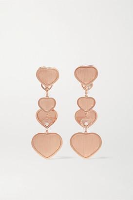 Chopard + 007 Happy Hearts Golden Hearts 18-karat Rose Gold Diamond Earrings - one size