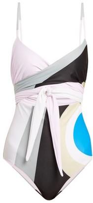 Mara Hoffman Isolde Wrapover Cut-out Swimsuit - Grey Multi