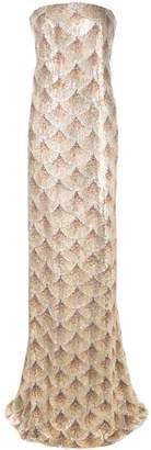 Oscar de la Renta strapless gown with fan embellishment