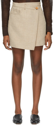 Acne Studios Beige Hemp and Linen Asymmetric Miniskirt