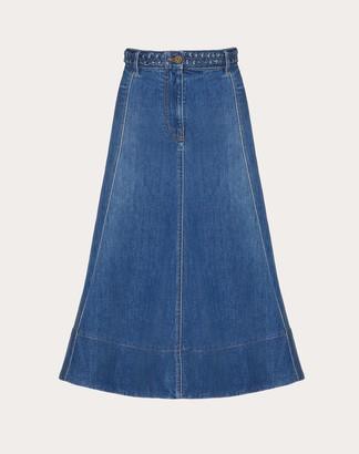 Valentino Light Stretch Denim Skirt Women Blue Cotton 98%, Elastane 2% 38