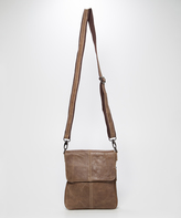Chocolate Brown Pompeii Expandable Leather Crossbody Bag