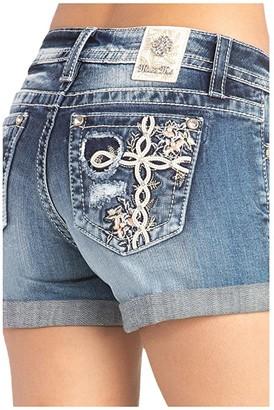 Miss Me Cross Mid-Rise Shorts (Medium Blue) Women's Shorts