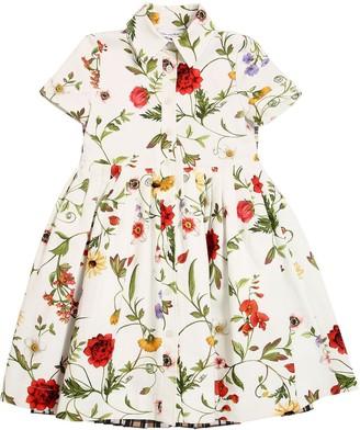 Oscar de la Renta Flower Print Cotton Ottoman Dress