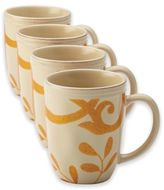 Rachael Ray Rachael RayTM Gold Scroll Mugs in Almond Cream (Set of 4)