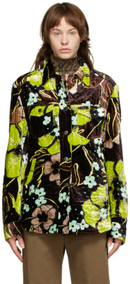 Dries Van Noten Brown Floral Quilted Jacket