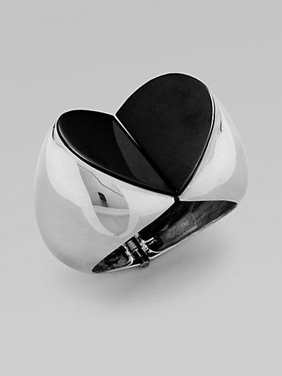 Vionnet Heart-Shaped Statement Bangle Bracelet