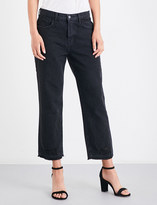 J Brand Ivy distressed straight high-rise jeans