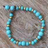 Brass and Calcite Beaded Bracelet from Thailand, 'Beautiful Thai in Light Blue'