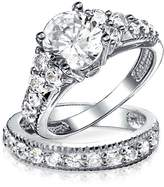 Bling Jewelry Gold Plated CZ Engagement Wedding Ring Set Sterling Silver