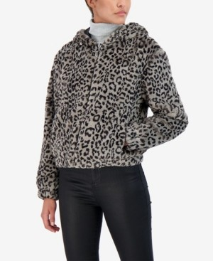 Sebby Junior's Reversible Leopard Faux Fur Hooded Bomber