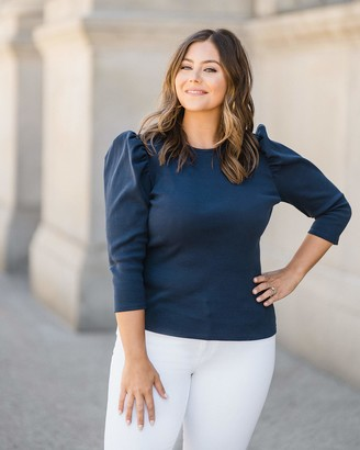 The Drop Women's Blue Puff-Sleeve Knit Top by @caralynmirand XXL
