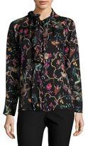 Etro Jungle-Print Silk Blouse