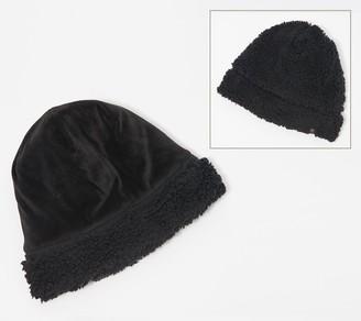 Cuddl Duds Double Plush Velour Faux Sherpa Reversible Hat