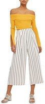 Topshop Women's Stripe Crop Wide Leg Trousers