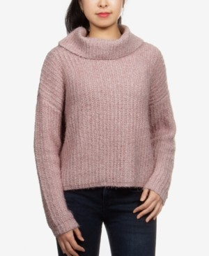 Hippie Rose Juniors' Cowlneck Chenille Sweater