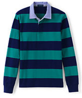 Lands' End Men's Classic Stripe Rugby Shirt-Navy/Teal Rugby Stripe