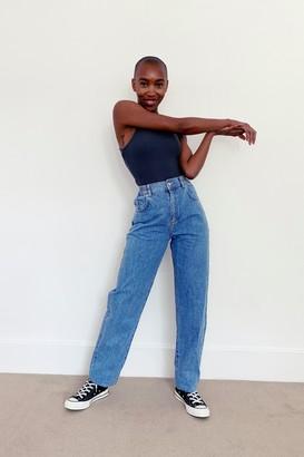 Topshop Bleach Elastic Baggy Jeans
