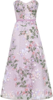 Marchesa Notte Strapless Floral-appliqued Embroidered Tulle Gown