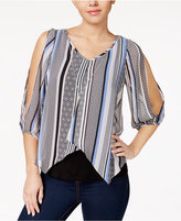 Amy Byer Juniors' Cold-Shoulder Striped Blouse