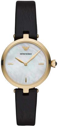 Emporio Armani Women Black Leather Strap Watch 32mm