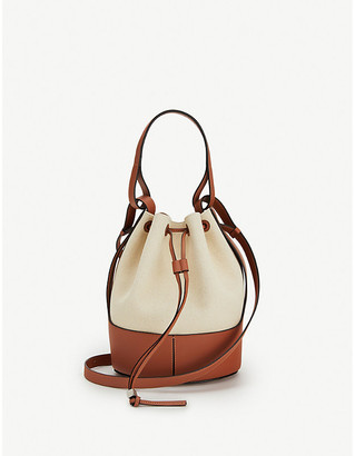 Loewe Balloon leather and canvas shoulder bag