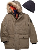 Hawke & Co Faux Fur Trim Hooded Expedition Vestee Parka (Big Boys)