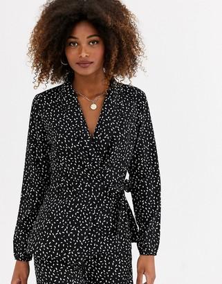 AX Paris wrap tie blouse in comma print