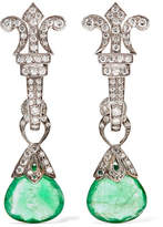 Amrapali 18-karat Gold, Silver, Emerald And Diamond Earrings