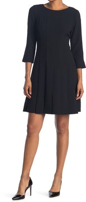 Eliza J Pleated Fit & Flare 3/4 Sleeve Dress