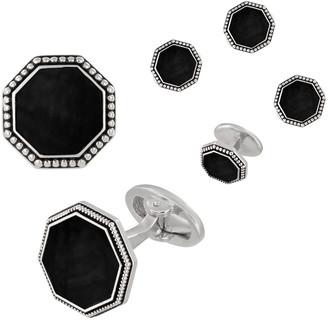 Jan Leslie Beaded Octagonal Onyx Cufflinks & Studs Set