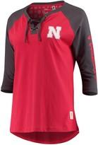 Unbranded Women's Pressbox Scarlet Nebraska Cornhuskers Skylar Raglan Lace-Up T-Shirt