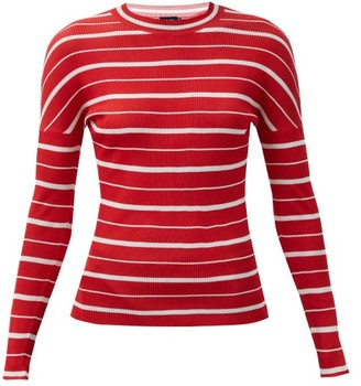 Atlein - Intarsia-striped Knitted Long-sleeved Top - Red White