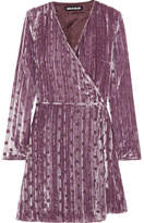 House of Holland Polka-dot Crushed Devoré-velvet Wrap Mini Dress - Lilac
