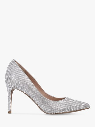 Steve Madden Lillie Embellished Stiletto Heel Court Shoes, Silver
