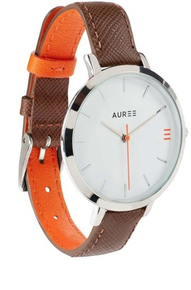 Auree Jewellery Montmartre Sterling Silver Watch With Chestnut Brown & Orange Strap