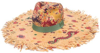 Etro Paisley-Print Raffia Sun Hat