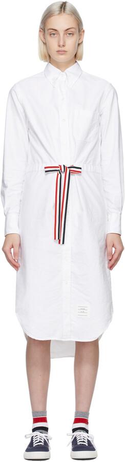 Thom Browne White Below-The-Knee Shirt Dress