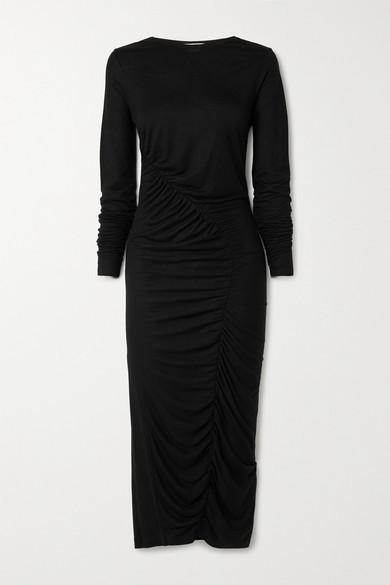 Ninety Percent + Net Sustain Ruched Tencel Midi Dress - Black
