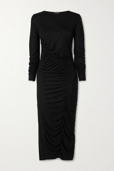 Ninety Percent Ruched Tencel Midi Dress - Black