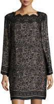 Max Studio Lace-Trim Floral-Print Shift Dress, Black