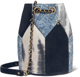 Jerome Dreyfuss Popeye Medium Paneled Leather Bucket Bag - Blue