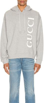 Gucci Print Hooded Sweatshirt in Medium Grey & White | FWRD