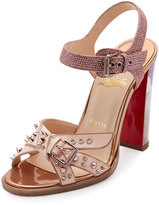 Christian Louboutin Miss Roma Buckle 100mm Red Sole Sandal, Version Doudou