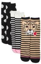 Kate Spade Women's 3-Pack Cheetah Trouser Socks