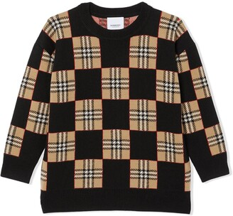 BURBERRY KIDS Icon Stripe chequer wool sweater