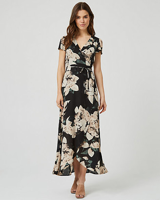 Le Château Floral Print Wrap-Like Maxi Dress