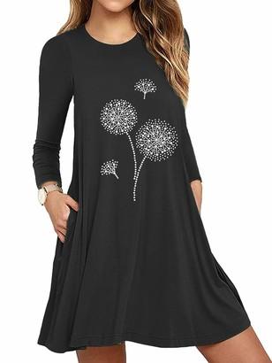 Dresswel Women Mini Dress Long Sleeve Loose Tunic Dandelion Print T Shirt Dress Mini Dresses with Pockets